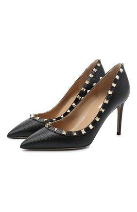 Женская кожаные туфли valentino garavani rockstud VALENTINO черного цвета, арт. UW2S0A04/VCE   Фото 1