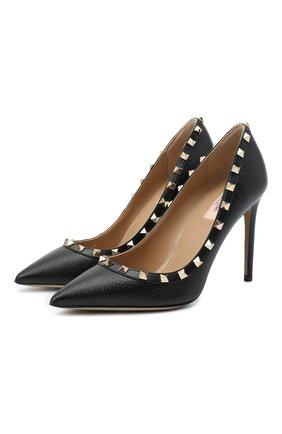 Женская кожаные туфли valentino garavani rockstud VALENTINO черного цвета, арт. UW2S0057/VCE   Фото 1