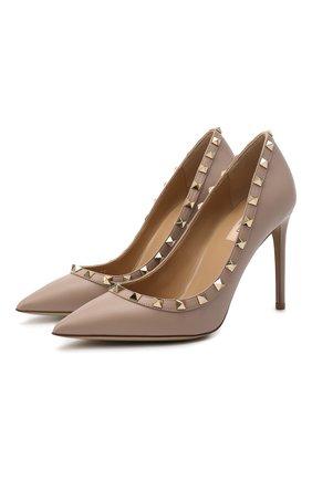 Женская кожаные туфли valentino garavani rockstud VALENTINO бежевого цвета, арт. UW2S0057/V0D   Фото 1