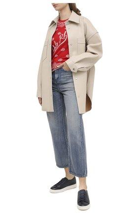 Женские кожаные кеды SANTONI синего цвета, арт. WBCE60442BARRAYLU60   Фото 2