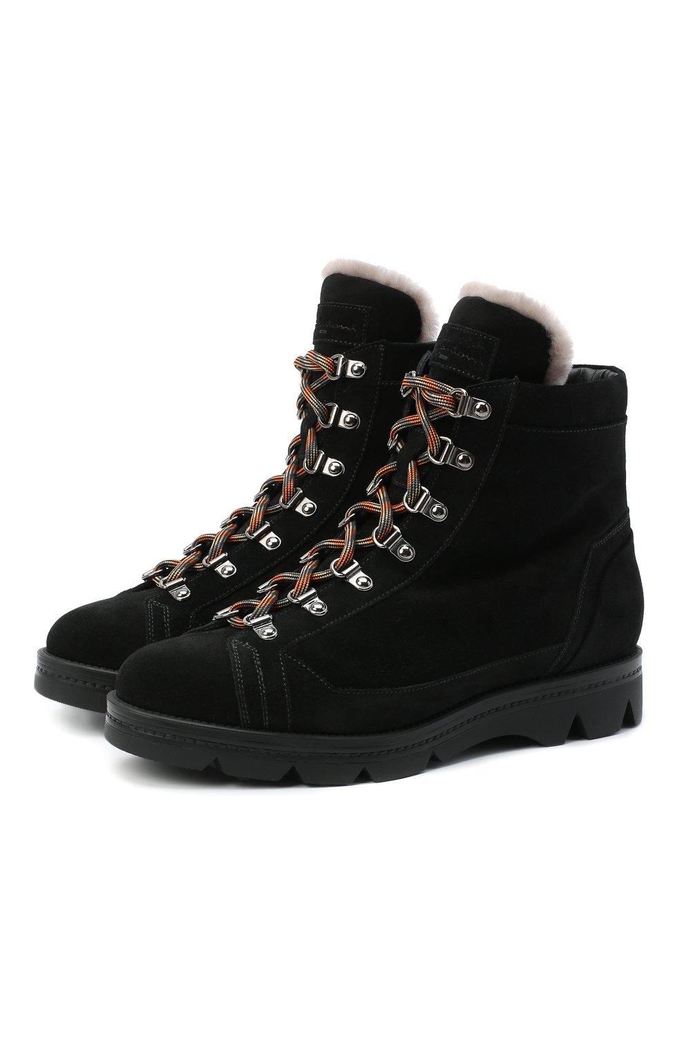Женские замшевые ботинки SANTONI черного цвета, арт. WTUD58934SM0APYLN01   Фото 1