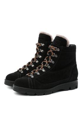 Женские замшевые ботинки SANTONI черного цвета, арт. WTUD58934SM0APYLN01 | Фото 1