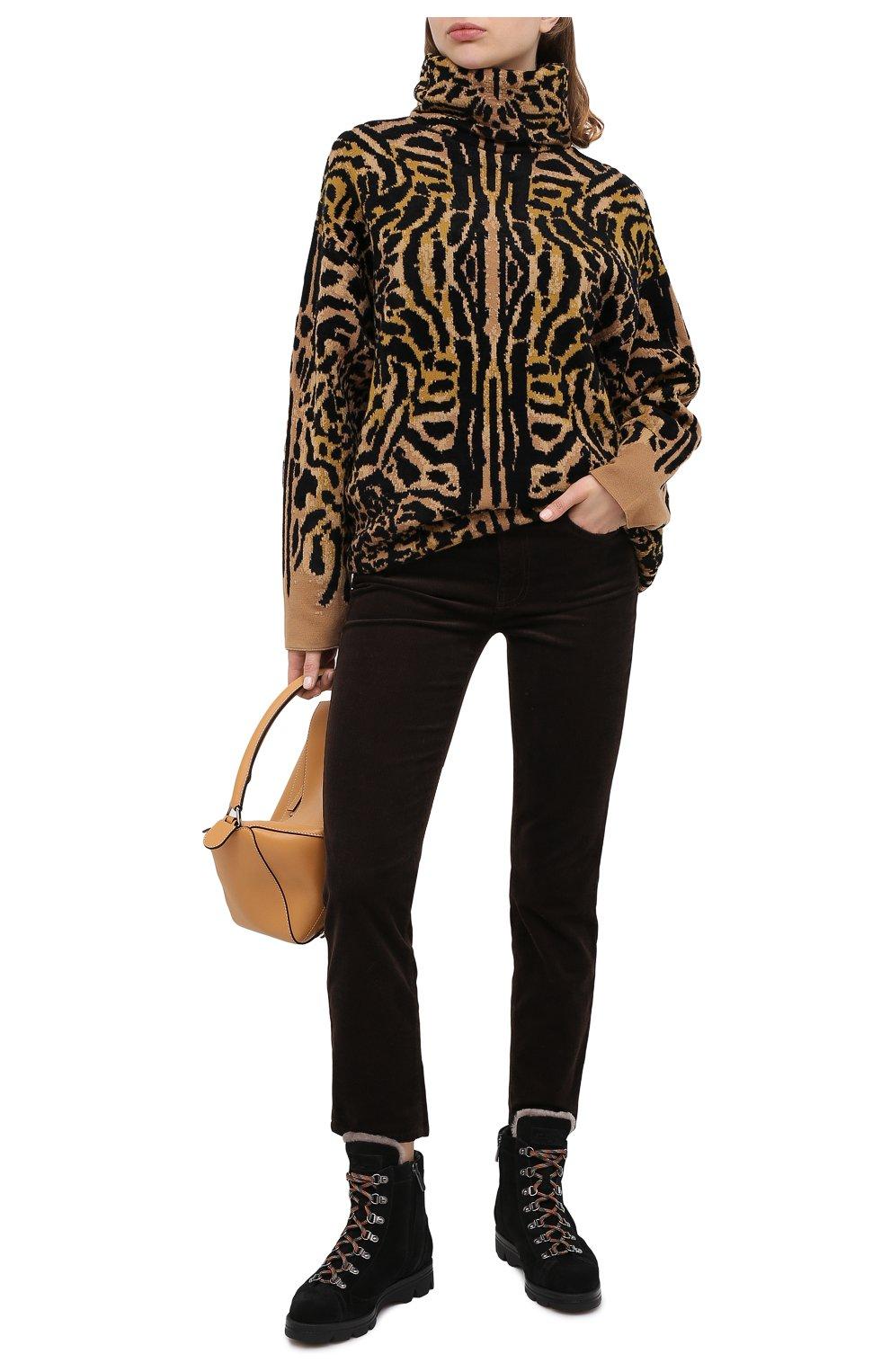 Женские замшевые ботинки SANTONI черного цвета, арт. WTUD58934SM0APYLN01   Фото 2