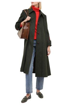 Женские кожаные лоферы KITON хаки цвета, арт. D50803X04T77 | Фото 2