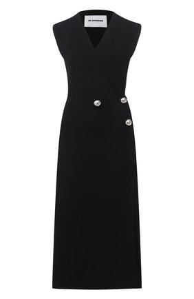 Женское платье из шерсти и вискозы JIL SANDER черного цвета, арт. JSPR754073-WRY39038 | Фото 1