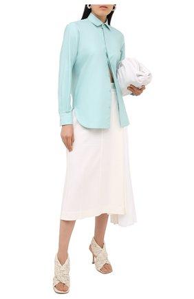 Женская хлопковая рубашка BOTTEGA VENETA голубого цвета, арт. 632698/VKU90 | Фото 2