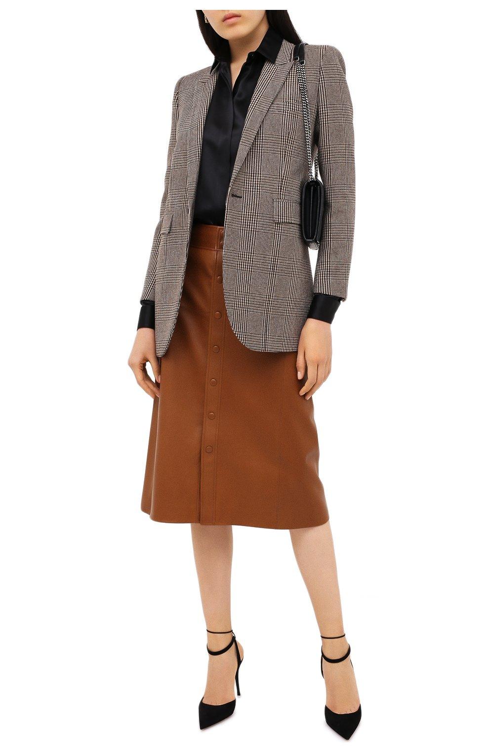 Женский шерстяной жакет SAINT LAURENT коричневого цвета, арт. 634301/Y5B64 | Фото 2