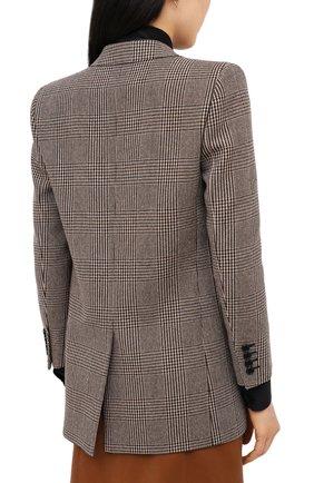 Женский шерстяной жакет SAINT LAURENT коричневого цвета, арт. 634301/Y5B64 | Фото 4