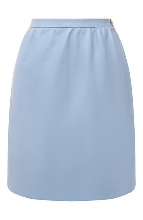 Женская кожаная юбка GUCCI голубого цвета, арт. 624138/XN336 | Фото 1