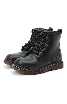 Детские кожаные ботинки GALLUCCI черного цвета, арт. J01518AM/TR P L G0M VIT   Фото 1