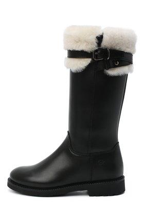 Детские кожаные сапоги GALLUCCI черного цвета, арт. J05119BM/ST S S G0M VIT | Фото 2 (Материал утеплителя: Натуральный мех)