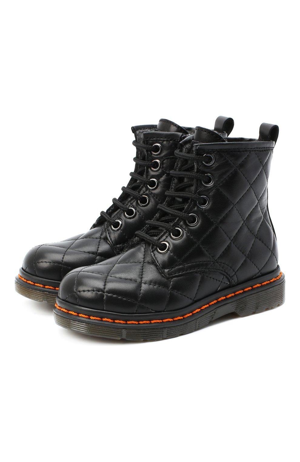Детские кожаные ботинки GALLUCCI черного цвета, арт. J30083HM/TR P L G0M N0P   Фото 1 (Материал утеплителя: Шерсть)