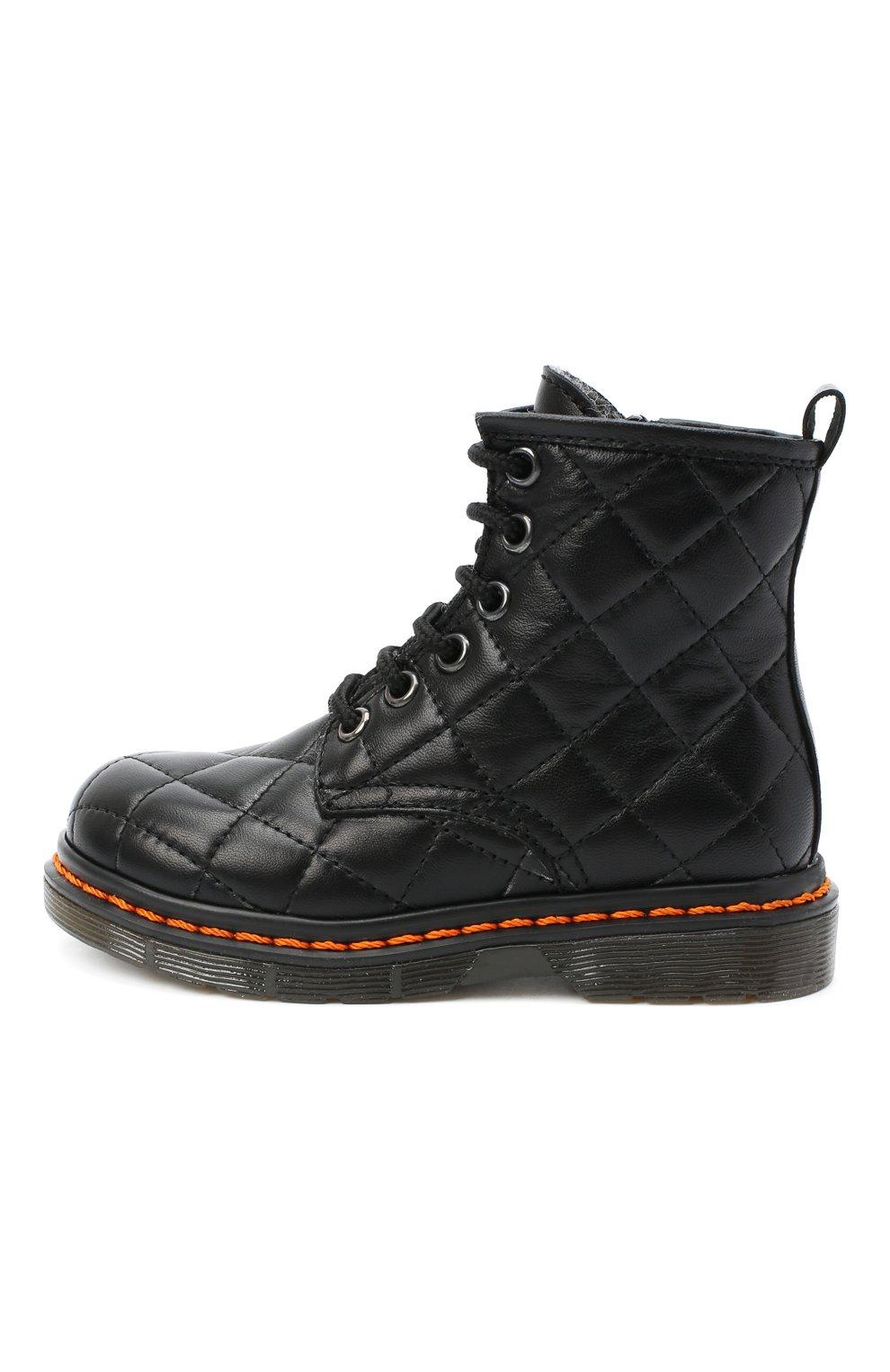 Детские кожаные ботинки GALLUCCI черного цвета, арт. J30083HM/TR P L G0M N0P   Фото 2 (Материал утеплителя: Шерсть)