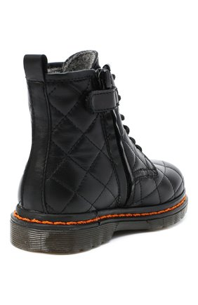 Детские кожаные ботинки GALLUCCI черного цвета, арт. J30083HM/TR P L G0M N0P   Фото 3 (Материал утеплителя: Шерсть)