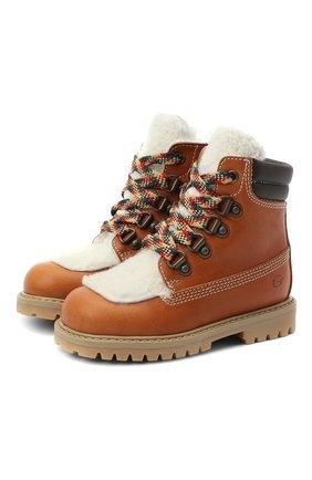 Детские кожаные ботинки с мехом GALLUCCI коричневого цвета, арт. J30088BM/TR S S G0M MAI/AGN/VIT | Фото 1