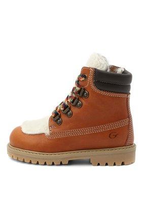 Детские кожаные ботинки с мехом GALLUCCI коричневого цвета, арт. J30088BM/TR S S G0M MAI/AGN/VIT | Фото 2