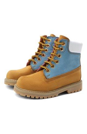 Детские кожаные ботинки GALLUCCI коричневого цвета, арт. J30093HM/TR P V G0M NAB/NAB/NAB   Фото 1