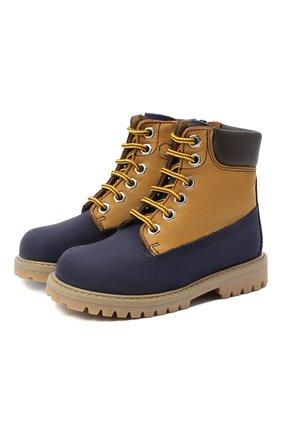 Детские кожаные ботинки GALLUCCI темно-синего цвета, арт. J30093HM/TR P V G0M NAB/NAB/NAB | Фото 1