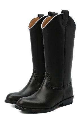 Детские кожаные сапоги GALLUCCI черного цвета, арт. J40018AM/ST P V CUG VIT | Фото 1 (Материал внутренний: Натуральная кожа)