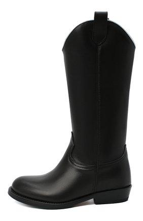 Детские кожаные сапоги GALLUCCI черного цвета, арт. J40018AM/ST P V CUG VIT | Фото 2 (Материал внутренний: Натуральная кожа)