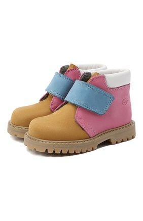 Детские кожаные ботинки GALLUCCI коричневого цвета, арт. T00234CM/SC P L G0M NAB/NAB/NAB   Фото 1