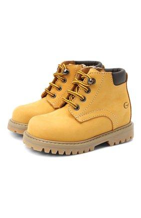Детские кожаные ботинки GALLUCCI коричневого цвета, арт. T20085AM/SC P V G0M NAB/VIT   Фото 1