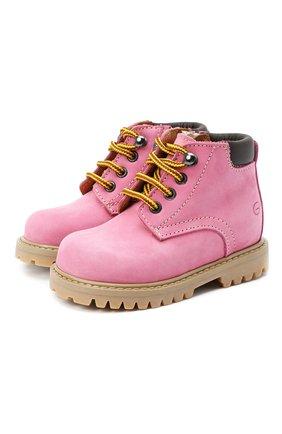 Детские кожаные ботинки GALLUCCI розового цвета, арт. T20085AM/SC P V G0M NAB/VIT   Фото 1