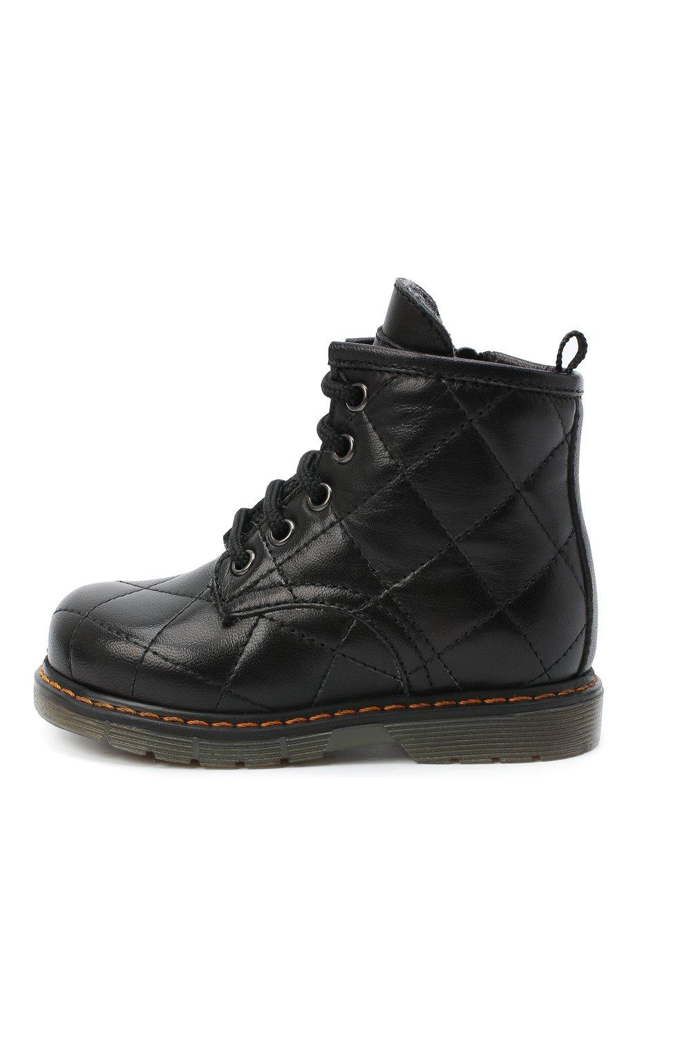 Детские кожаные ботинки GALLUCCI черного цвета, арт. T30016AM/TR P L G0M N0P   Фото 2 (Материал утеплителя: Шерсть)