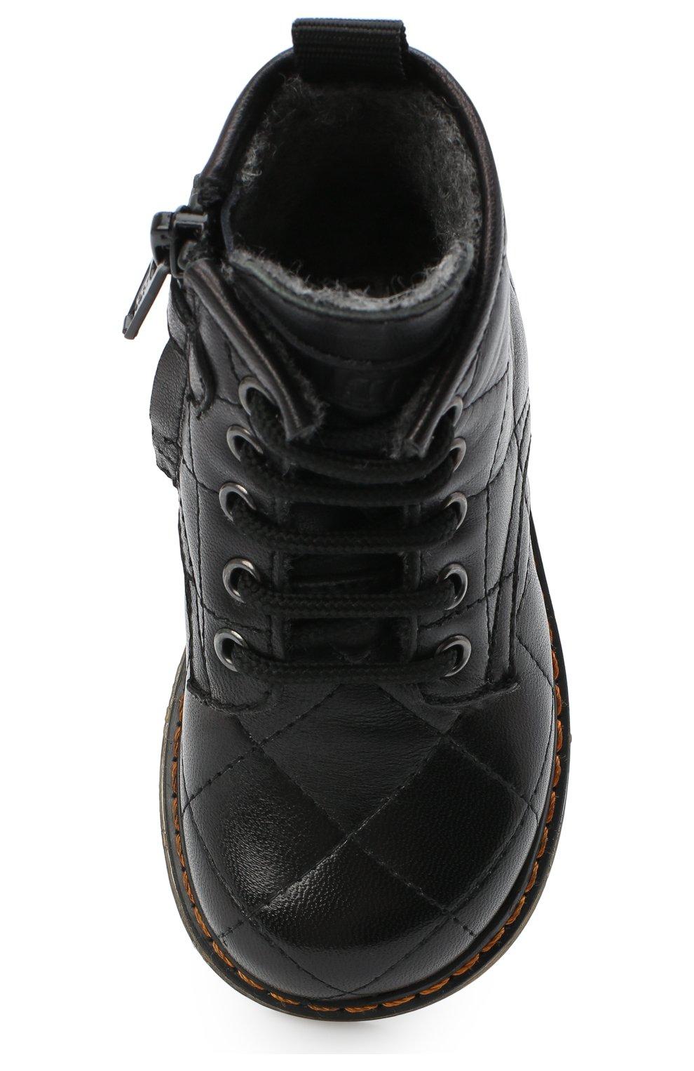 Детские кожаные ботинки GALLUCCI черного цвета, арт. T30016AM/TR P L G0M N0P   Фото 4 (Материал утеплителя: Шерсть)