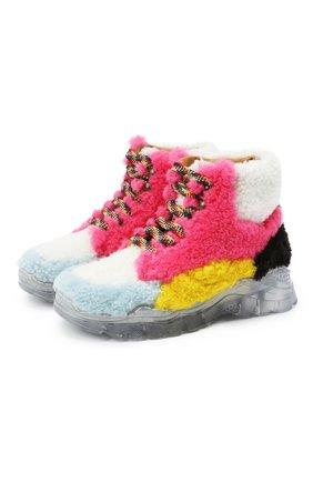 Детские меховые ботинки GALLUCCI разноцветного цвета, арт. J20211AM/SC P V G0M MCU/MCU/MCU 1 | Фото 1