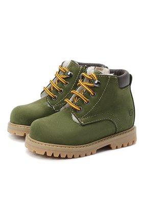 Детские кожаные ботинки GALLUCCI зеленого цвета, арт. T20085BM/SC S S G0M NAB/VIT   Фото 1