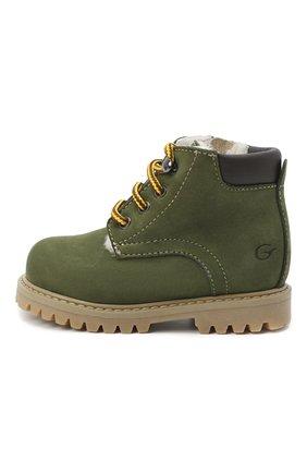 Детские кожаные ботинки GALLUCCI зеленого цвета, арт. T20085BM/SC S S G0M NAB/VIT   Фото 2