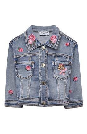 Детского джинсовая куртка MONNALISA синего цвета, арт. 396103R6 | Фото 1