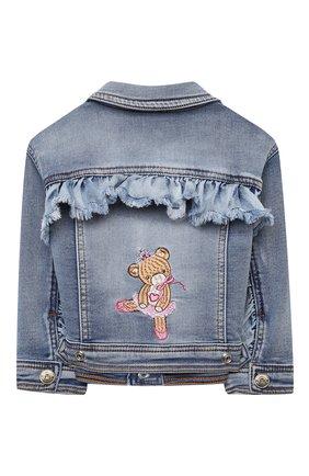 Детского джинсовая куртка MONNALISA синего цвета, арт. 396103R6 | Фото 2