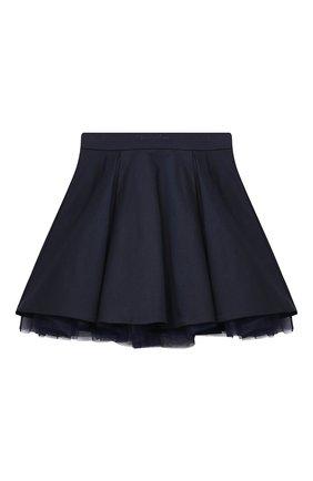 Детская хлопковая юбка MONNALISA темно-синего цвета, арт. 186GON   Фото 1