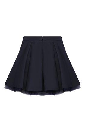 Детская хлопковая юбка MONNALISA темно-синего цвета, арт. 186GON   Фото 2