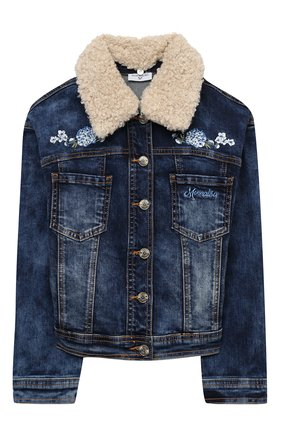 Детская джинсовая куртка MONNALISA синего цвета, арт. 196101R4 | Фото 1