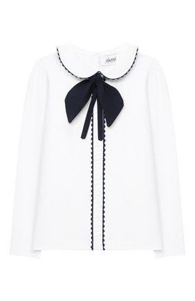 Детское хлопковая блузка ALETTA белого цвета, арт. AJ000457ML/9A-16A | Фото 1