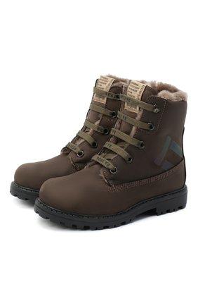 Детские кожаные ботинки RONDINELLA коричневого цвета, арт. 11200-3/634/24-27 | Фото 1