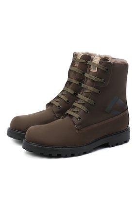 Детские кожаные ботинки RONDINELLA коричневого цвета, арт. 11200-3/634/37-39 | Фото 1