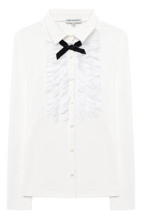 Детское хлопковая блузка ALESSANDRO BORELLI MILANO бежевого цвета, арт. J20169-20л | Фото 1