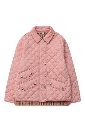 Детская стеганая куртка BURBERRY светло-розового цвета, арт. 8016649   Фото 1