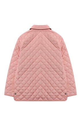 Детская стеганая куртка BURBERRY светло-розового цвета, арт. 8016649   Фото 2
