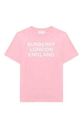 Детская хлопковая футболка BURBERRY светло-розового цвета, арт. 8028810 | Фото 1