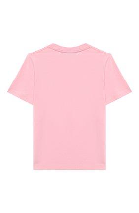 Детская хлопковая футболка BURBERRY светло-розового цвета, арт. 8028810 | Фото 2