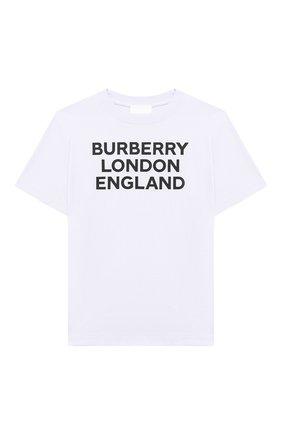 Детская хлопковая футболка BURBERRY белого цвета, арт. 8028811 | Фото 1