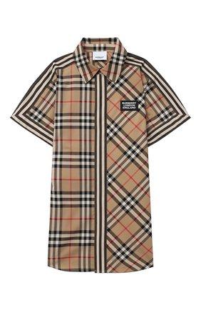 Детская хлопковая рубашка BURBERRY бежевого цвета, арт. 8030099 | Фото 1