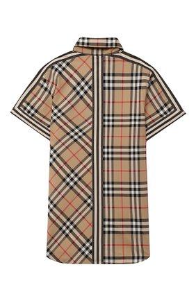 Детская хлопковая рубашка BURBERRY бежевого цвета, арт. 8030099 | Фото 2