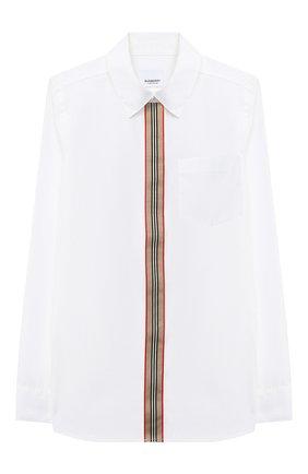 Детская хлопковая рубашка BURBERRY белого цвета, арт. 8030103 | Фото 1