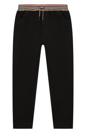 Детские хлопковые брюки BURBERRY черного цвета, арт. 8030127 | Фото 1